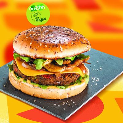 Vegan Rucola-Burger mit Champignons
